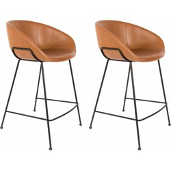 Zuiver Set 2 Barstoelen Feston Zithoogte 65 Cm - Kunstleer Bruin