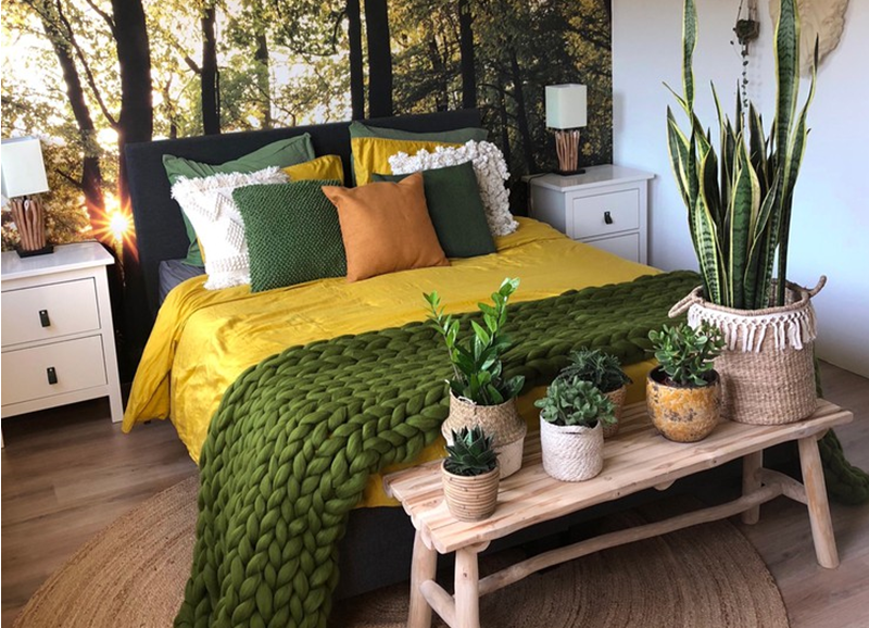 Shop the look: prachtige groen-gele slaapkamer