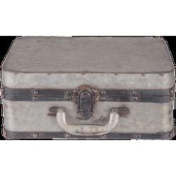 Clayre & Eef Clayre & Eef - decoratie koffer 29*20*13 cm - grijs - ijzer - rechthoekig - 6Y2550