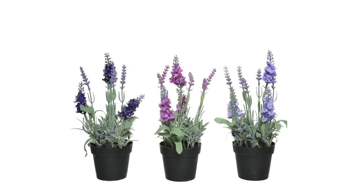 Lavender polyester dia12-H25cm ass