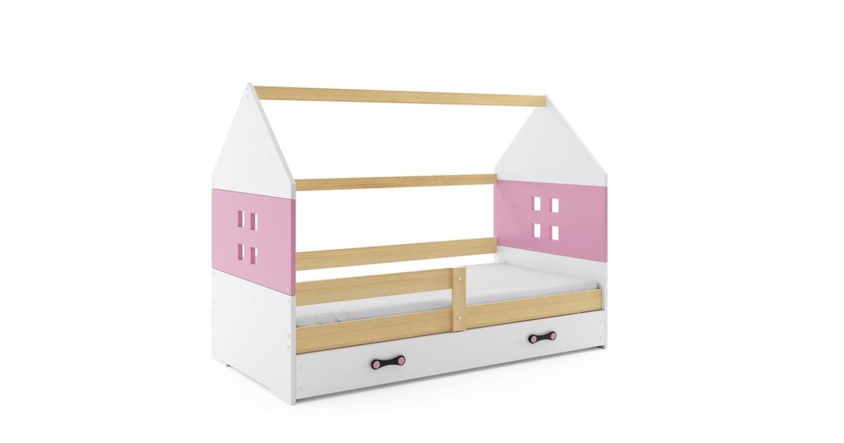 Kinderbed Huisje Hout & Roze 80x160 cm | Perfecthomeshop
