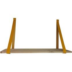 Houten Wandplank-70x38cm-met kunstlederen Hengsels -Hout/ Kunstleer-Geel-Housevitamin