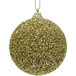 5 stuks! Kerstbal foam glitter kraal d8 cm lichtgoud
