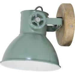 Light&Living Wandlamp Elay hout natural-industrieel groen 18 x 20 x 19