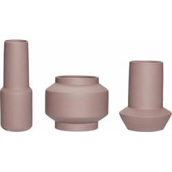 Hübsch 320601 Vazen - Set van 3 - ø8xH23cm en ø14xH18cm en ø16xH14cm - Keramiek - Bruin