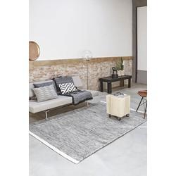 Handgemaakt Wollen vloerkleed - 200x300cm - zwart/wit - Lifa Living