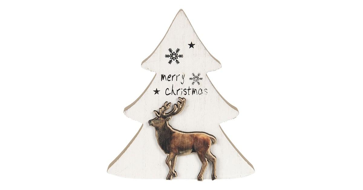 Clayre & Eef Kerstdecoratie Kerstboom 16*2*14 cm Wit Hout Decoratief Figuur Decoratieve Accessoires