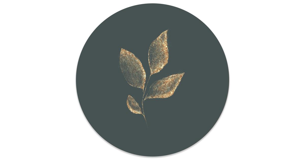 Muurcirkel klein Leaf gold green - Ø 40 cm
