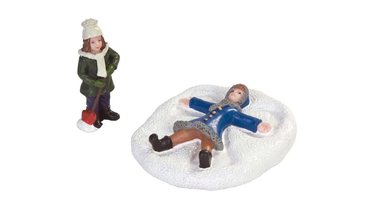 Kinderen maken engel in sneeuw set van 2