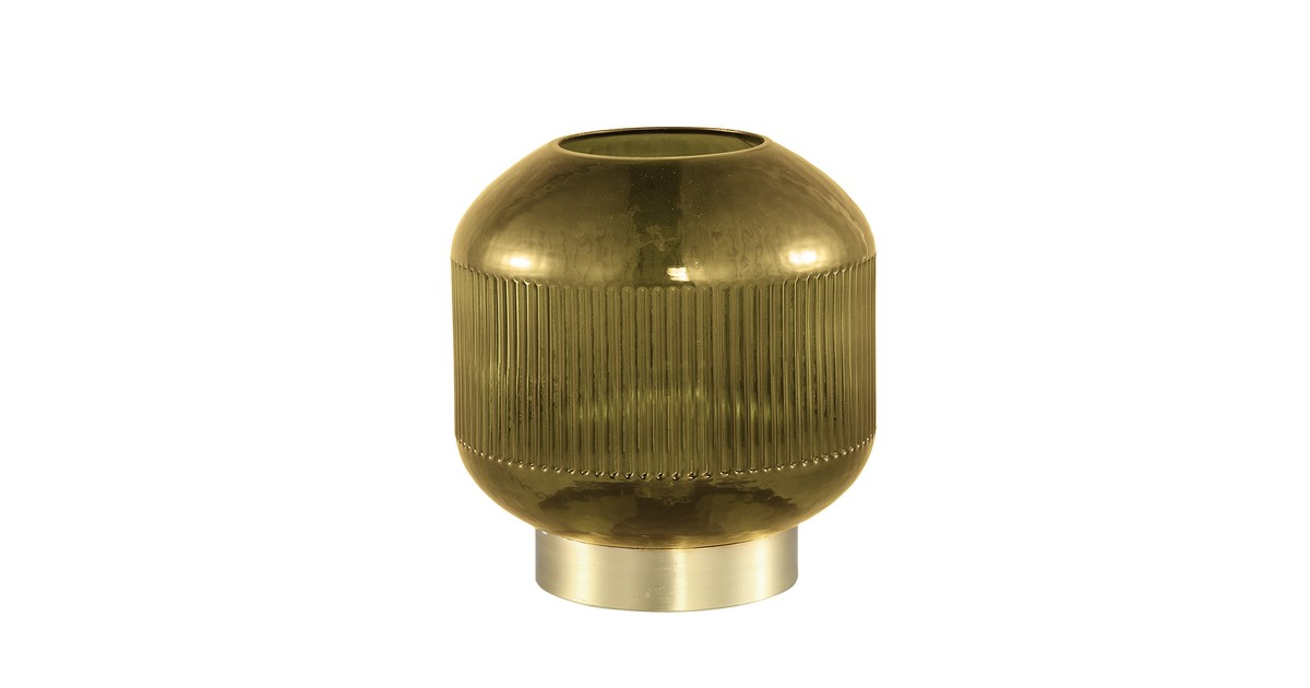 PTMD Tafellamp Destin Geel glazen tafel lamp LED geribbeld online kopen