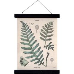 HK-living schoolplaat met varen botanisch geprint katoen M  30x40x2,5cm