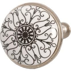 Clayre & Eef - deurknop Ø 3*2 cm - zwart - keramiek - rond - bogen - 61886