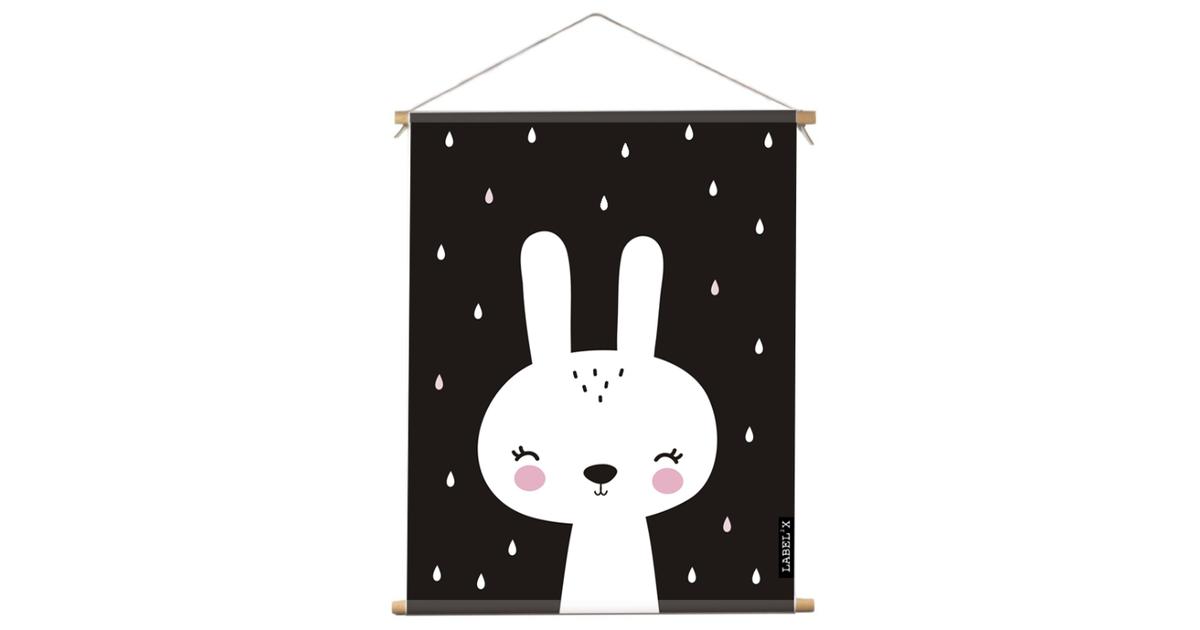 Textielposter kids konijn zwart