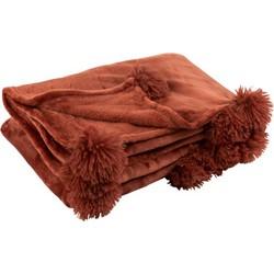 plaid pompom polyester marsala 170 x 130