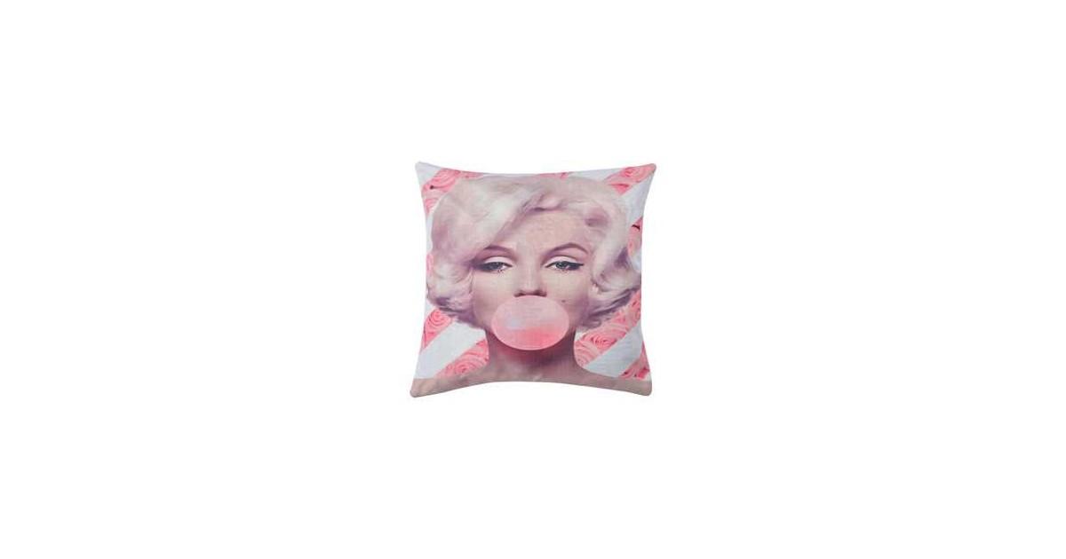 Clayre & Eef Kussenhoes KT021.253 43*43 cm Wit, Roze, Beige Polyester Vierkant Sierkussenhoes