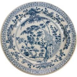 HKliving bord handbeschilderd blauw wit Kyoto keramiek
