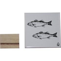 Keramische Tegel Vissen-15x15cm-Incl. houten tegelhouder-Housevitamin