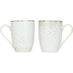 Set van 2 Thee / Koffie Mok Glam - Porselein - Wit / Goud- 350ML
