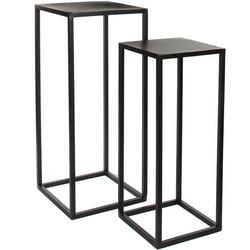 Mica Decorations goa tafel zwart set van 2 grootste maat in cm: 30 x 30 x 70