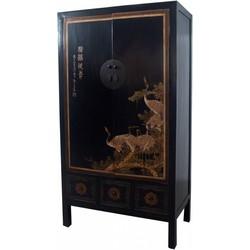 Fine Asianliving Antieke Chinese Bruidskast Handbeschilderde Kraanvogels Zwart