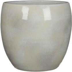 Mica Decorations lester ronde pot lichtgrijs maat in cm: 31 x 33