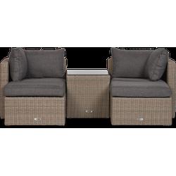 Lanterfant® Loungeset Koen - Bruin - Wicker - 2 personen