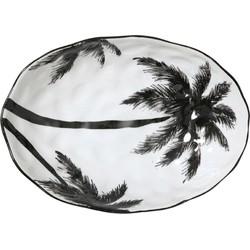 HK-living schaal wit met palmbomen jungle 28x20x7cm