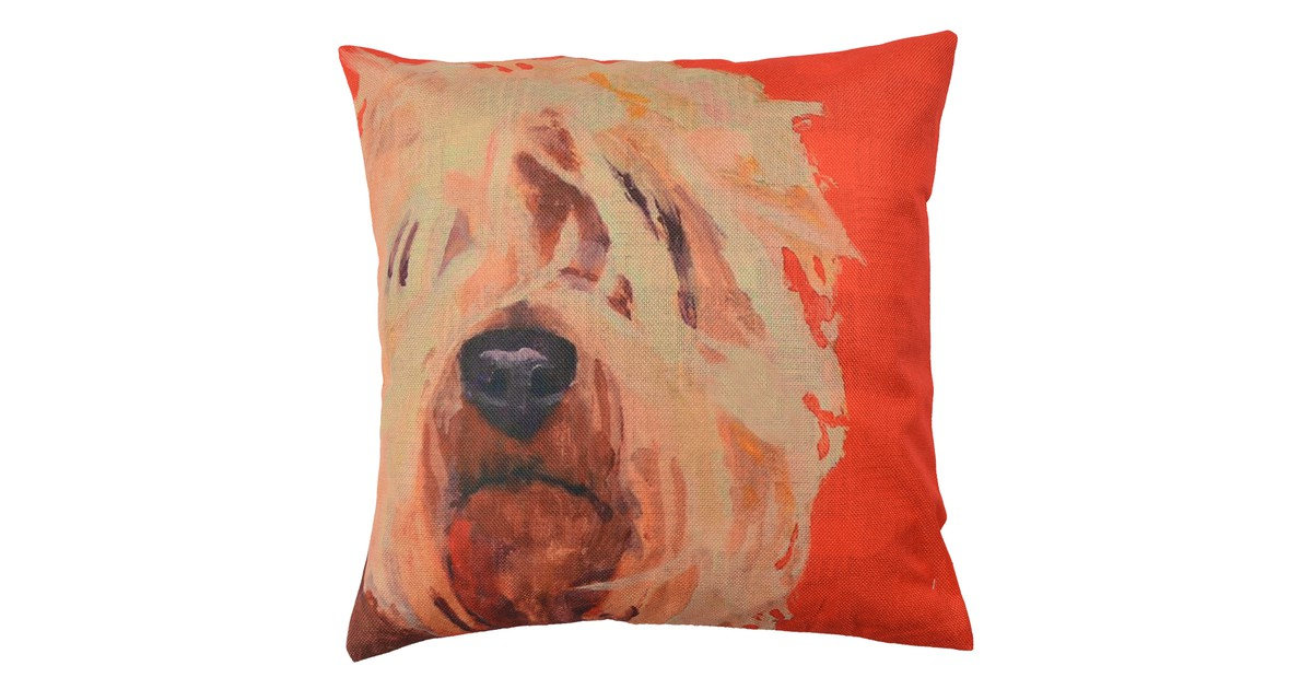 Clayre & Eef Kussenhoes KT021.234 43*43 cm Bruin, Rood, Geel Polyester Vierkant Hond Sierkussenhoes