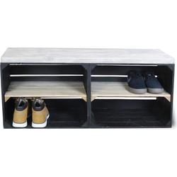 Schoenenkast - Zwart - Legplank Bruin Lang - 100x30x43 cm
