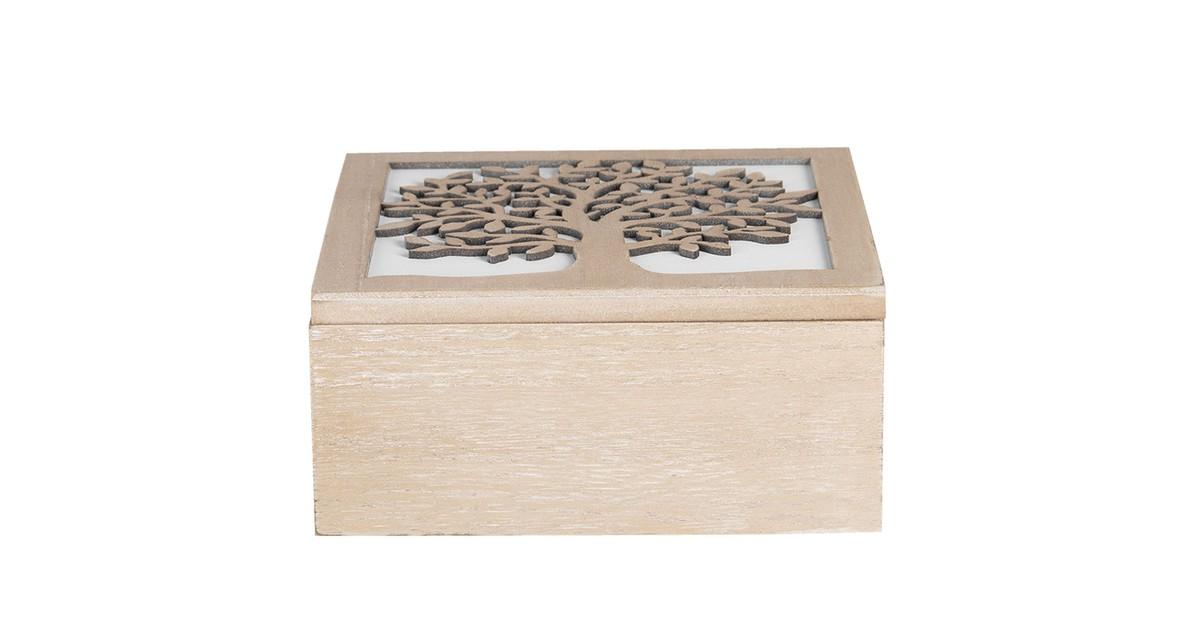 Clayre & Eef Kist van hout | 20*20*9 cm | Bruin | Hout |  | 6H1941