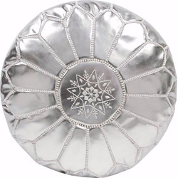 Leren Poef - zilver - Handgemaakt en stijlvol - Gevuld geleverd - Poufs&Pillows