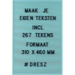 Dresz Letterbord Inclusief 267 Zwarte Letters, Nummers, Symbolen en  2 Bevestigingshaken Leuke Woondecoratie, 31 x 46 cm, Mint Groen