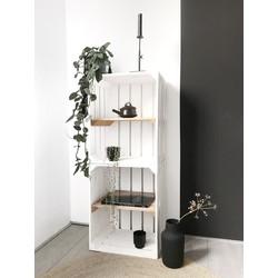 Fruitkist - Nieuw -Wit - Set van 2 - Legplank Bruin - 40x30x50cm