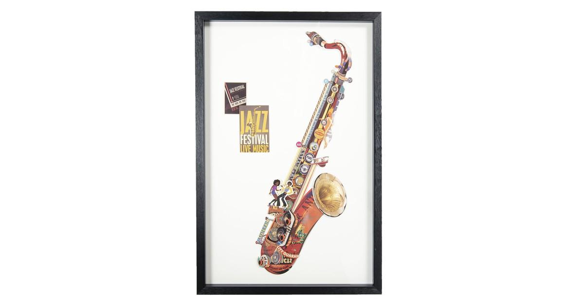 Schilderij   60*4*90 cm   Multi   Kunststof / papier   Rechthoek   Saxofoon   Clayre & Eef   50324