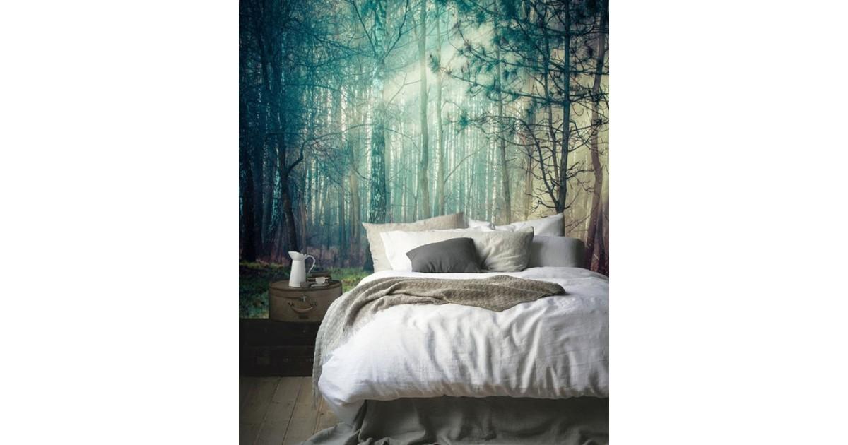 Zelfklevend behang XL Bomen met zon 218x250 cm