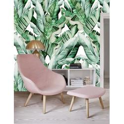 Vliesbehang - 350x250cm - Bananenblad groen/wit