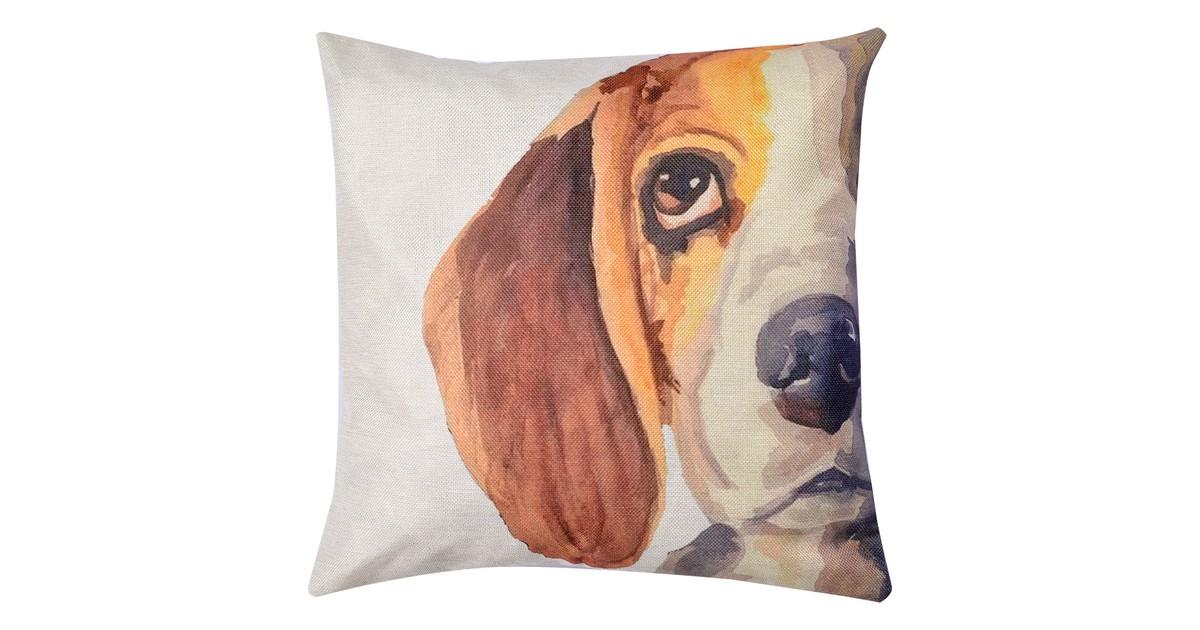 Clayre & Eef Kussenhoes KT021.232 43*43 cm Bruin, Geel, Wit Polyester Vierkant Hond Sierkussenhoes