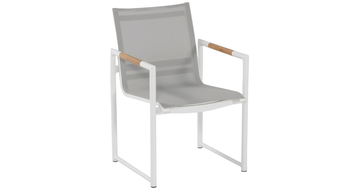 Hartman Fontaine Dining Tuinstoel - Set Van 2 - Wit Aluminium Frame - Textileen Zitting
