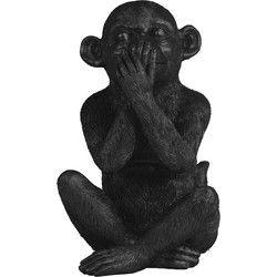 ornament monkey zwart 26 x 16,5 x 16,5