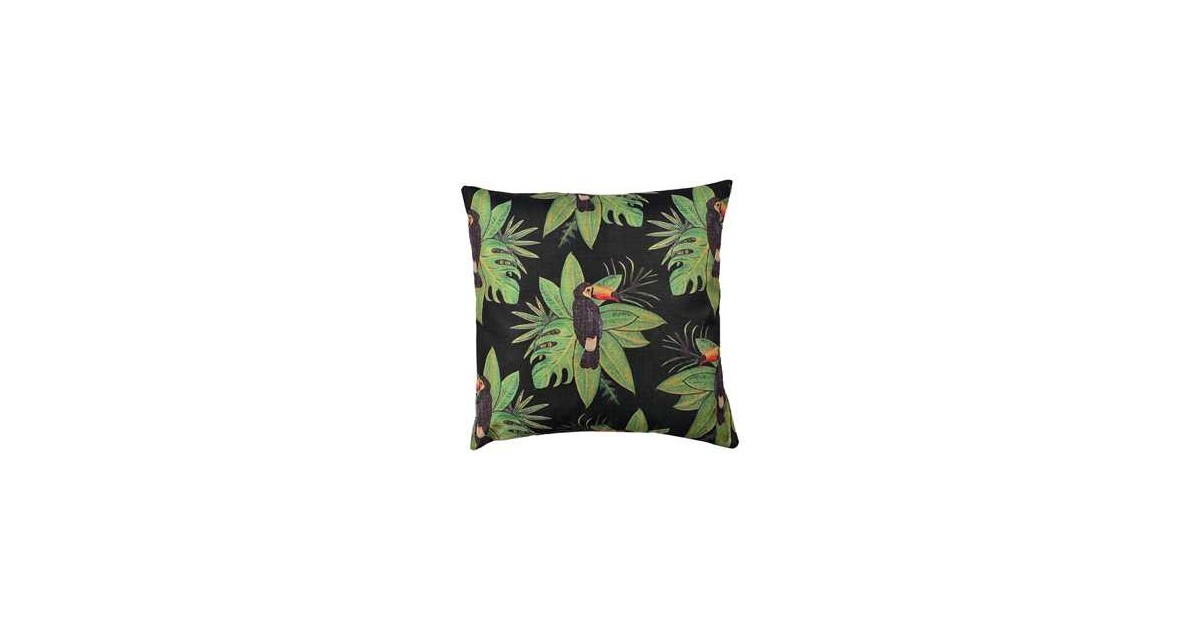 Clayre & Eef Kussenhoes KT021.260 43*43 cm Zwart, Groen Polyester Vierkant Sierkussenhoes