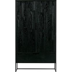 WOOOD Silas 2-deurs Kast - Eiken - Blacknight - 149x85x35,5