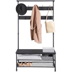 MIRA Home - Zwarte XL kapstok met zitbank en schoenenrek - 100x41,5x182