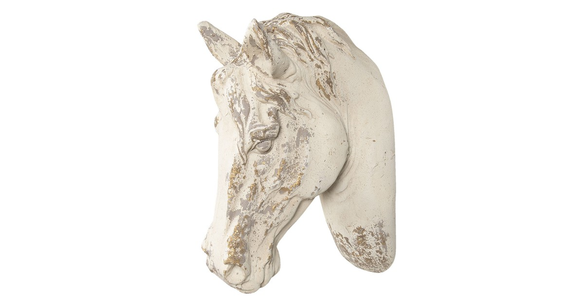 Decoratie paard | 32*16*45 cm | Wit | Kunststof | Paard | Clayre & Eef | 6PR3052