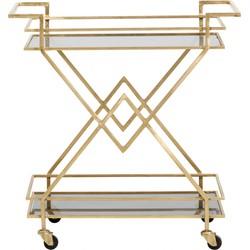 Nordal trolley messing goud zwart glas op wieltjes