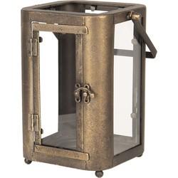 Lantaarn | 19*15*23/33 cm | Bruin | Ijzer / glas | Rechthoekig | Clayre & Eef | 6Y3584
