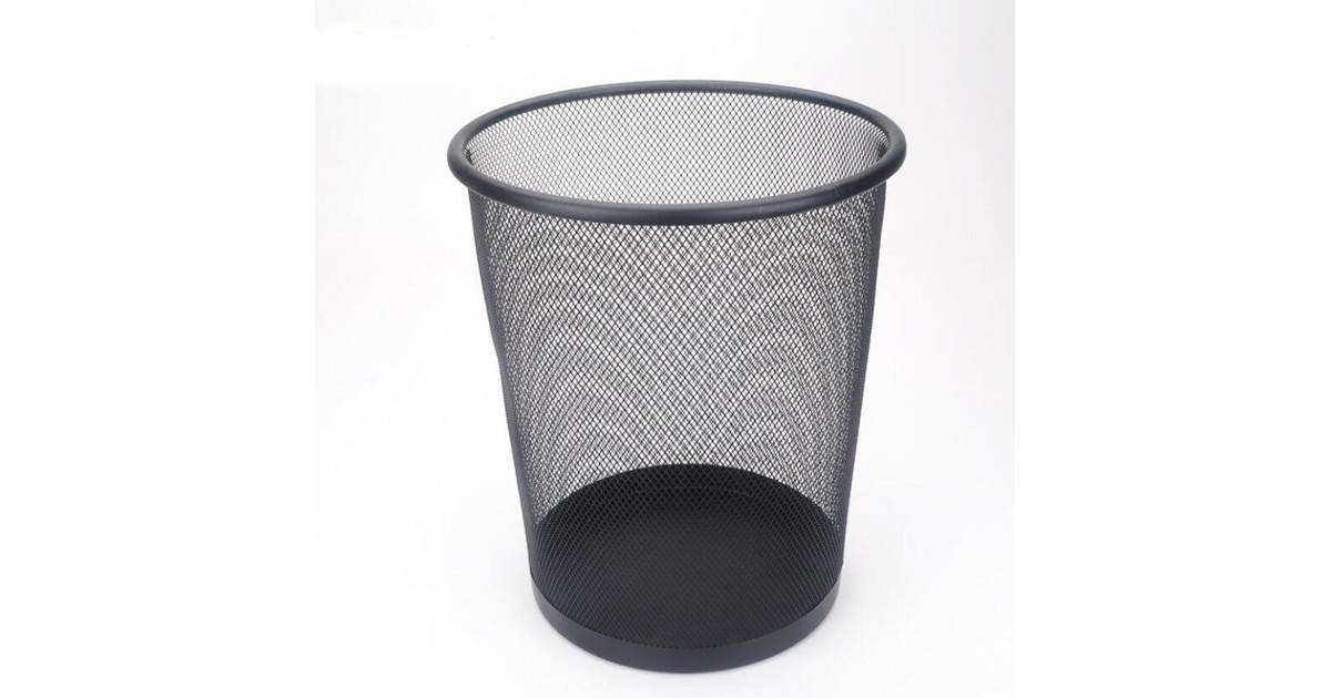 Decopatent® Design Ronde Prullenbak voor Kantoor - Papierbak - Mesh - Metaal - Papiermand - Prullenm