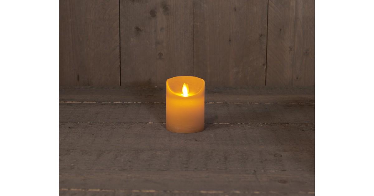 Anna's Collection B.o.t. kaars wax rustiek bewegende vlam 7.5x10cm okergeel 3xaaa/timer