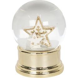 Clayre & Eef Sneeuwbol Ster Ø 4*6 cm Goudkleurig Kunststof / Glas Rond sterren Snowglobe Kerstmis