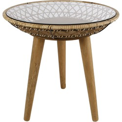 Koffietafel rond decoratie plek naturel riet 49x49x62cm
