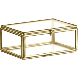 Madam Stoltz Opbergboxje Metaal en Glas Brass 3.5 x 8.5 x 6